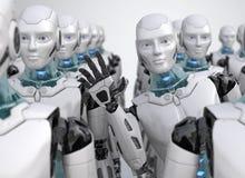 Robô que olha para fora da multidão ilustração do vetor