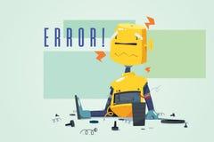 Robô quebrado que mostra a ilustração do conceito do erro ilustração stock
