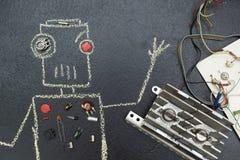 Robô, tirado no giz e nas peças elétricas desmontadas ilustração do vetor