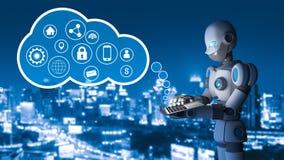 Robô usando um laptop com os ponteiros do círculo na cidade ilustração royalty free