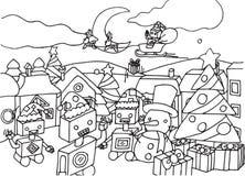 Robôs bonitos dos desenhos animados na página da coloração do Natal ilustração royalty free