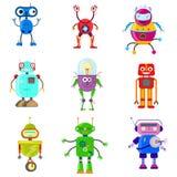 Robôs bonitos no estilo liso ilustração stock