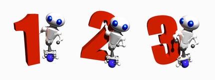 Robôs com números Foto de Stock Royalty Free