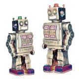 Robôs do pai e do filho sobre foto de stock