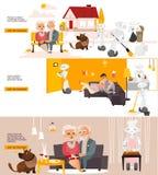 Robôs do vetor nos cartazes do infographics da vida ajustados Imagens de Stock