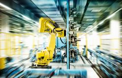 Robôs no trabalho Foto de Stock