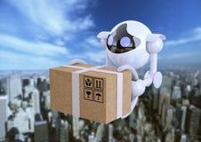 Robôs, zangões esféricos que voam com a caixa em suas garras imagem de stock