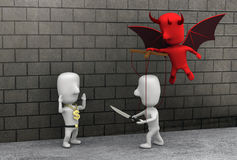 Rob. An illustration to show that the devil is the cause of people commiting crime like robbing Stock Images