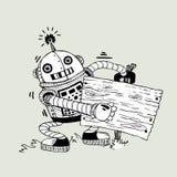 Robô alegre com a placa para obter informações sobre da Foto de Stock