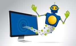 Robô azul dos gênios que flutua fora da tela de um computador no branco Imagens de Stock
