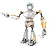 Robô branco futurista que apresenta o gesto Imagem de Stock