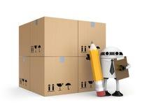 Robô com prancheta e caixas Fotografia de Stock Royalty Free