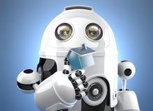 robô 3D que guarda a figura diminuta da casa Conceito home esperto Contem o trajeto de grampeamento Fotos de Stock