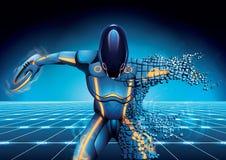 Robô da ficção científica com o disco à disposição que cai para baixo às partes no fundo escuro ilustração stock
