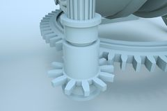 robô da máquina 3D no movimento Rendição 3D agradável Imagens de Stock Royalty Free