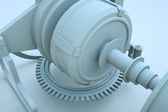 robô da máquina 3D no movimento Rendição 3D agradável Foto de Stock