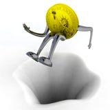 Robô da moeda do dólar que salta acima da ilustração da barreira Foto de Stock Royalty Free