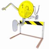Robô da moeda do dólar que salta acima da ilustração do obstáculo Foto de Stock