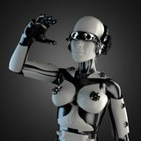 Robô da mulher do aço e do plástico branco Imagens de Stock
