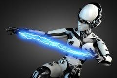 Robô da mulher do plástico de aço e branco com relâmpago Imagem de Stock Royalty Free