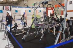 Robô de HyQ na exposição em Solarexpo 2014 em Milão, Itália Foto de Stock