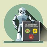 Robô de prata do humanoid que apresenta o gráfico da informação Fotos de Stock