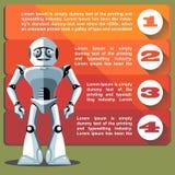 Robô de prata do humanoid que apresenta o gráfico da informação ilustração stock