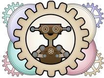 Robô de Steampunk nas engrenagens coloridas da preensão das engrenagens Fotos de Stock