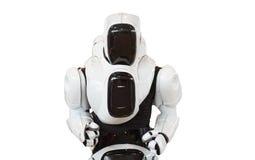 Robô do homem mecânico isolado no fundo branco fotos de stock