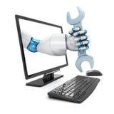 Robô e chave da mão ilustração do vetor