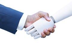 Robô e ser humano que agitam as mãos Imagem de Stock Royalty Free