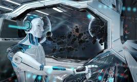 Rob? em uma sala de comando que voa uma nave espacial moderna branca com opini?o da janela na rendi??o do espa?o 3D ilustração stock