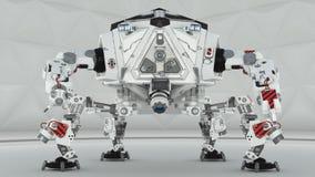 Robô futurista de quatro pés no fundo branco Imagem de Stock Royalty Free