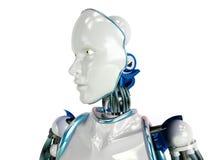 Robô futurista do humanoid no fundo branco Fotos de Stock Royalty Free
