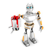 Robô futurista que apresenta a caixa de presente Fotografia de Stock Royalty Free