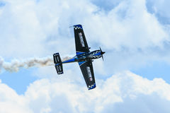Rob Holland aerobatic pilot. Bagotville, Canada- June 22, 2013: The Bagotville Airshow is a 2 days airshow where the Bagotville Airport opens to the public with Royalty Free Stock Image