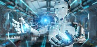 Rob? humanoid branco usando a rela??o tecnologico digital com rendi??o dos dados 3D ilustração stock