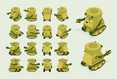 Robô militar caqui isométrico em trilhas da esteira rolante ilustração do vetor