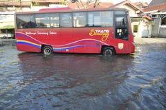 Rob powódź w Semarang Kaligawe regionie fotografia stock