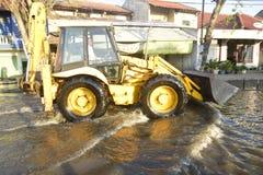 Rob powódź w Semarang Kaligawe regionie obraz stock