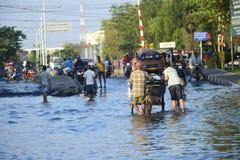 Rob powódź w Semarang Kaligawe regionie zdjęcie royalty free