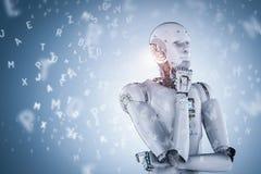 Robô que aprende ou aprendizagem de máquina ilustração stock