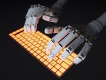 Robô que datilografa no teclado Fotos de Stock
