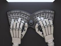 Robô que datilografa no teclado auto-iluminado conceptual Imagens de Stock Royalty Free