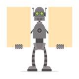 Robô que guarda cartazes vazios Fotografia de Stock Royalty Free