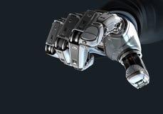 Robô que guarda o bitcoin com os dedos no braço mecânico Fotos de Stock
