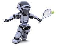 Robô que joga o tênis Fotografia de Stock Royalty Free