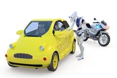 Robô que obtem uma multa por excesso de velocidade Fotos de Stock Royalty Free