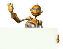 Robô que prende a borda de um sinal em branco - inclui o trajeto de grampeamento Imagens de Stock Royalty Free