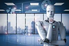 Robô que trabalha com indicação digital ilustração royalty free